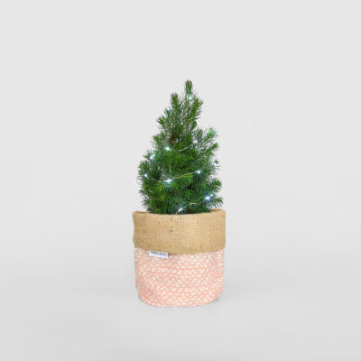 Mini Christmas Tree Planter Bag Blush Pink Light