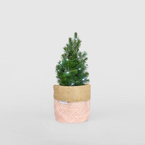 Mini Christmas Tree Planter Bag Blush Pink Light
